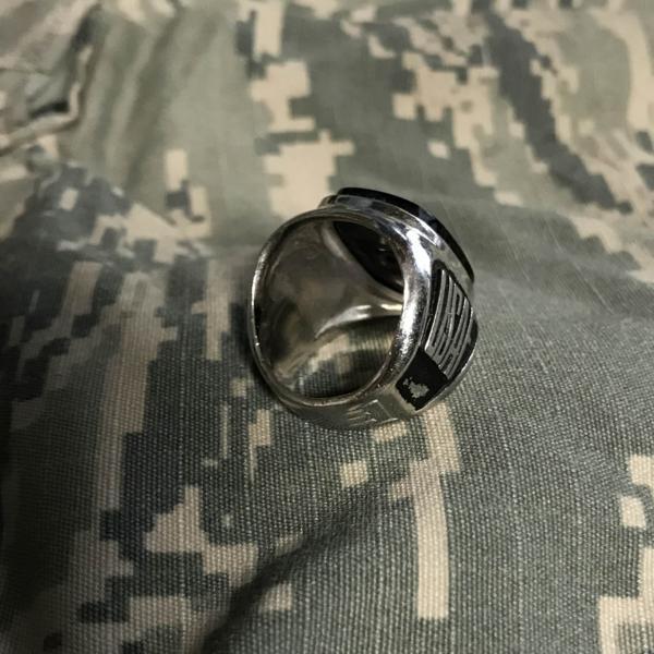 米軍USNAVY海軍銀色RING黒ミリタリーリング指輪8未使用A140_米軍 空軍 USAF ミリタリーリング