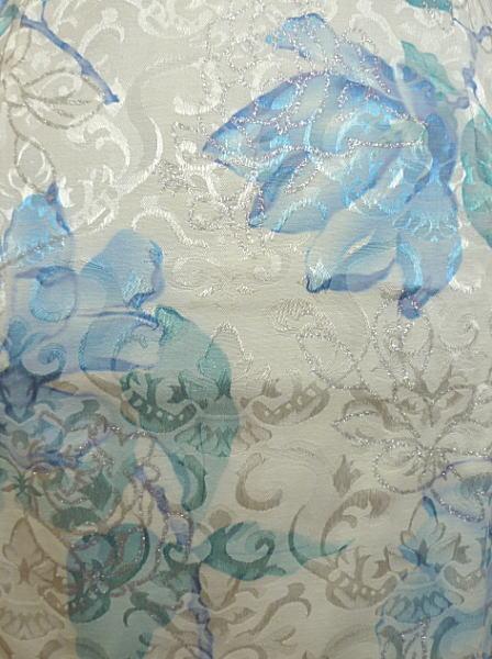 【FLOWER】デザインチャイナドレス◆花ラメプリント・白×水色・L(11号)◆送料無料(クリックポスト発送)_画像3