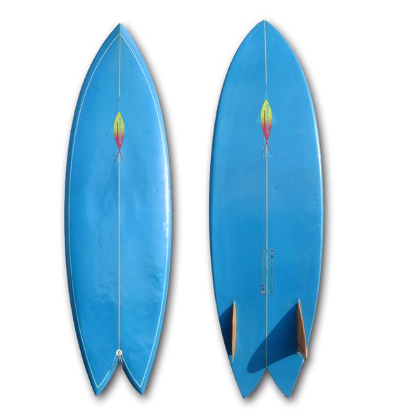 【中古】NEVサーフボード 5'10(178cm)Fish/TWINウッドキールFIN_画像1
