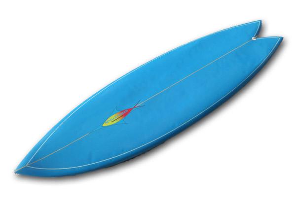 【中古】NEVサーフボード 5'10(178cm)Fish/TWINウッドキールFIN_画像2