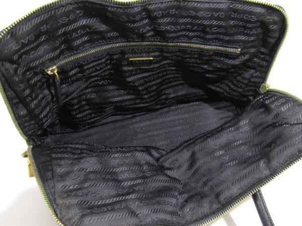 プラダ PRADA ナイロン アルマ型 トート バッグ セミショルダー カデナ付 黒_画像8