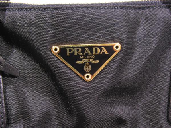 プラダ PRADA ナイロン アルマ型 トート バッグ セミショルダー カデナ付 黒_画像7