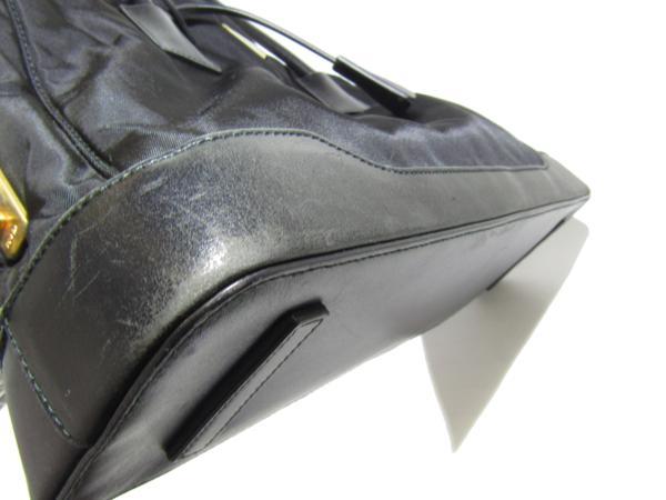 プラダ PRADA ナイロン アルマ型 トート バッグ セミショルダー カデナ付 黒_画像6