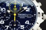 1円×3本逆輸入SEIKOミリタリーブルー100m防水クロノグラフ時計