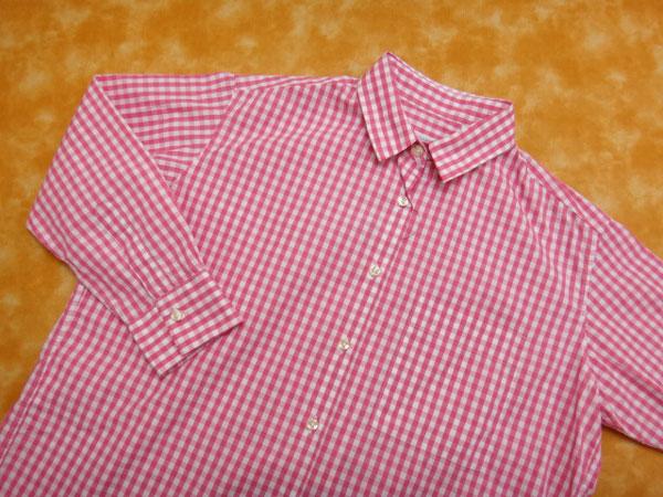 ★070485【ナラカミーチェ】美品★ギンガムチェック柄7分袖ビッグシャツ★1★ピンク×白★NARACAMICIE_画像2