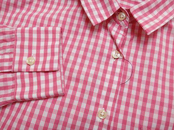 ★070485【ナラカミーチェ】美品★ギンガムチェック柄7分袖ビッグシャツ★1★ピンク×白★NARACAMICIE_画像3