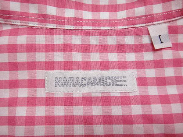 ★070485【ナラカミーチェ】美品★ギンガムチェック柄7分袖ビッグシャツ★1★ピンク×白★NARACAMICIE_画像5