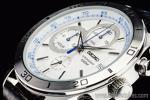 1円 セイコー 海外 シルバーフェイス 100m防水 タキメーター 本革ベルト クロノグラフ 腕時計