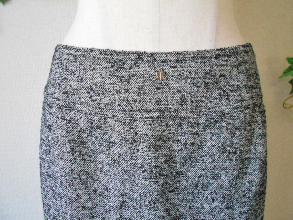 クレージュ courreges 秋冬向き ロゴ マーク 付き シルク 混 膝丈 スカート_画像2