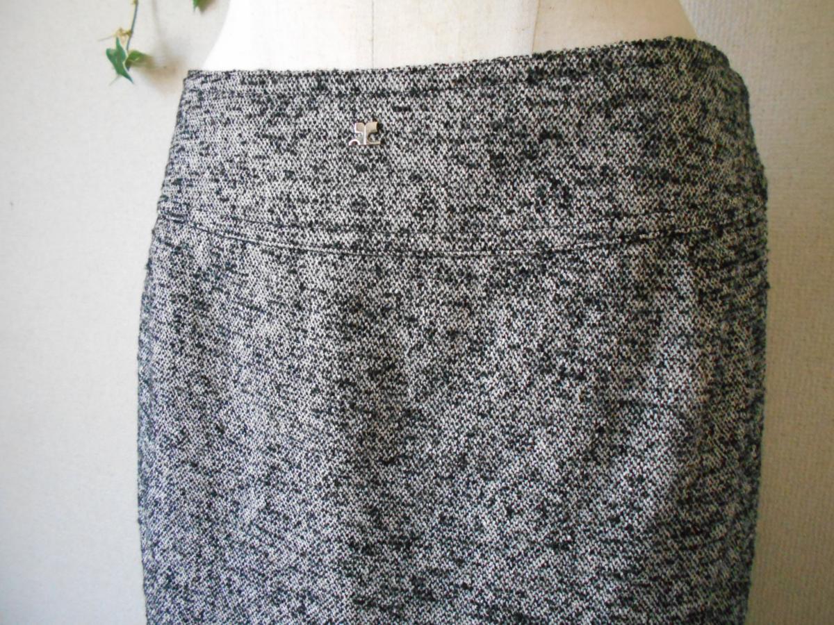 クレージュ courreges 秋冬向き ロゴ マーク 付き シルク 混 膝丈 スカート_画像3