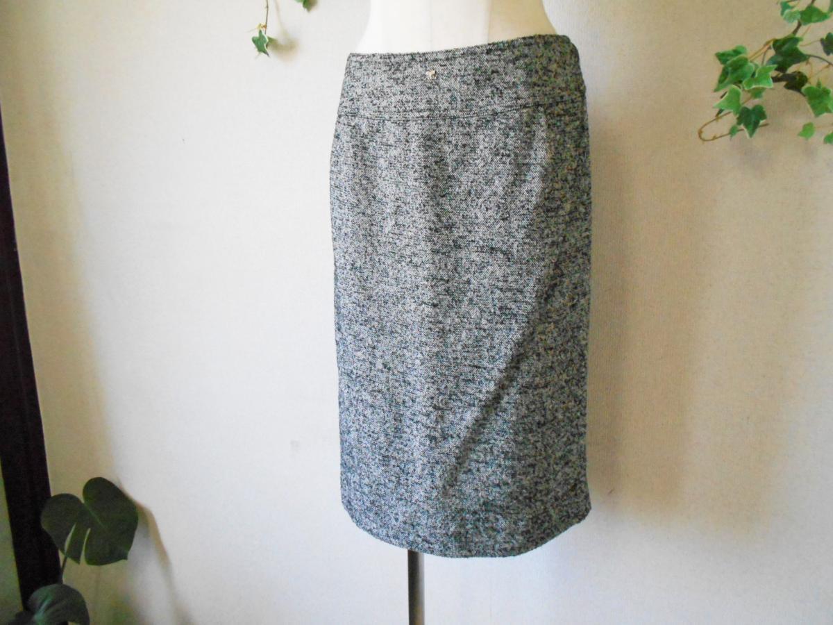 クレージュ courreges 秋冬向き ロゴ マーク 付き シルク 混 膝丈 スカート_画像4