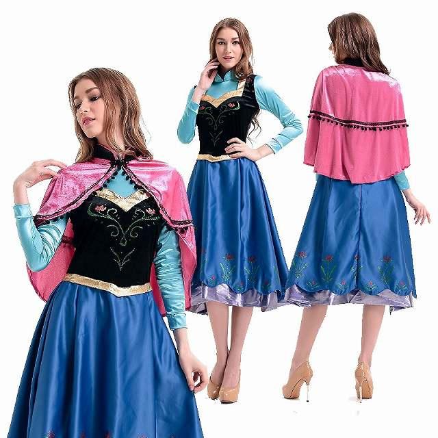 エルサ アナと雪の女王 ロング丈ドレス 大きいサイズ有 XL ディズニーグッズの画像