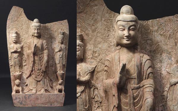 慶應◆中国仏教文物 北魏正光6年銘文あり 石仏三尊像