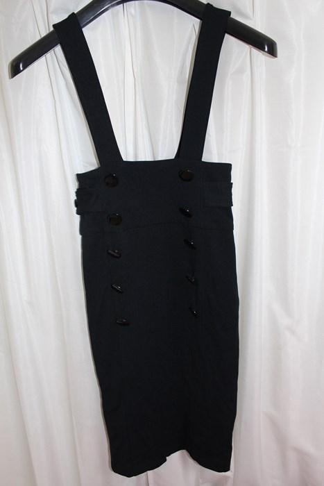 イタリア製 レディースジャンパースカート ブラック Sサイズ 新品_画像1