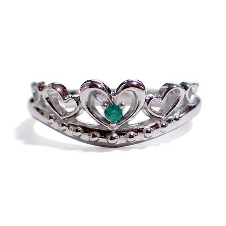 5月の誕生石 エメラルド シルバーアクセサリー 純銀 シルバー925 リング 指輪 ティアラ レディース 誕生日 プレゼント ギフト 贈り物 BOX付