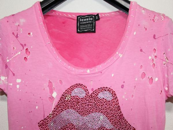 アイコニック ICONIC COUTURE レディース半袖Tシャツ ローリングストーンズ Mサイズ rolling stones ベロT 新品_画像2