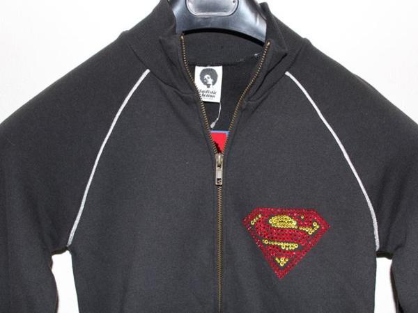 サディスティックアクション SADISTIC ACTION レディース スーパーマン トラックジャケット ブラックxシルバー 新品_画像2