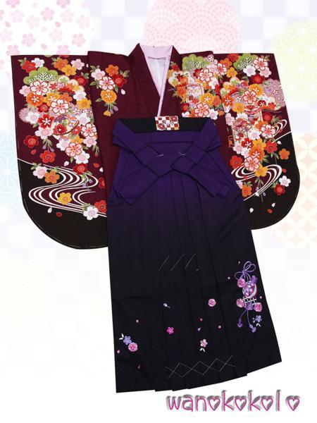 【和のこころキッズ】二尺袖着物・袴セット◇小学校卒業式◇DE4_画像1
