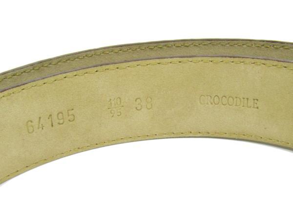 バリー BALLY 美品 クロコダイル ベルト エキゾチックレザー メンズ ゴールド金具_画像5