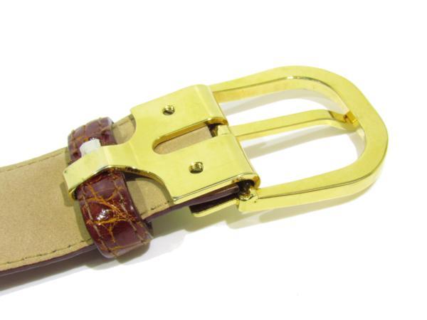 バリー BALLY 美品 クロコダイル ベルト エキゾチックレザー メンズ ゴールド金具_画像8