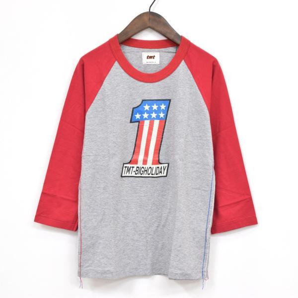 【福岡1周年記念】新品 限定 TMT ティーエムティー H/SL T-SHIRT 七分袖Tシャツ ラグランスリーブTシャツ レッド 赤 サイズ:L タグ付き