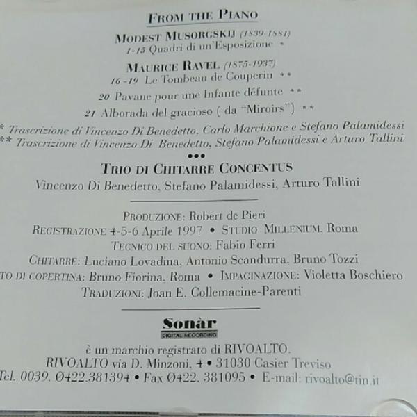 Trio Concentus / From the Piano CD benedetto palamidessi tallini ムソルグスキー ラベル_画像2