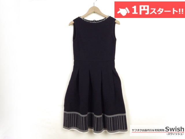 A821●FOXEY フォクシー●未使用 ドレス ニット ワンピース 38 紺●