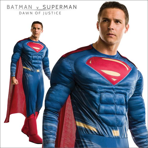 送料無料★バットマンvsスーパーマン 大人用デラックススーパーマン 810925■ハロウィン衣装 コスプレ 映画キャラクター グッズの画像