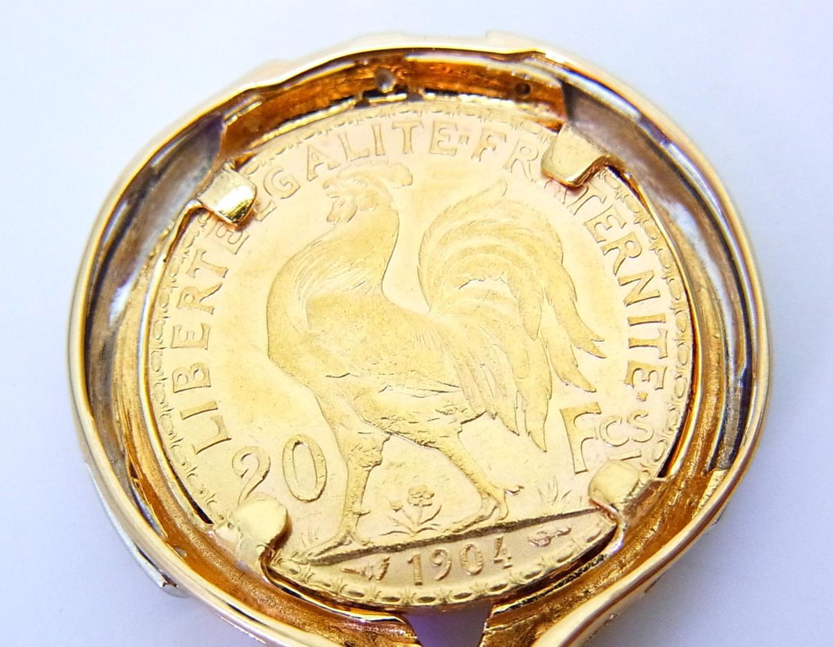 送料込みの即決価格!フランス『マリアンヌ』20フラン金貨 18金製ペンダントトップ 卸価格でご奉仕_画像3