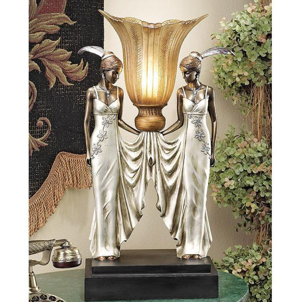 アールデコ調 ピーコック風 乙女イルミネーション 照明彫刻(彫像)/ Art Deco Peacock Maidens Illuminated Statue【輸入品_画像1