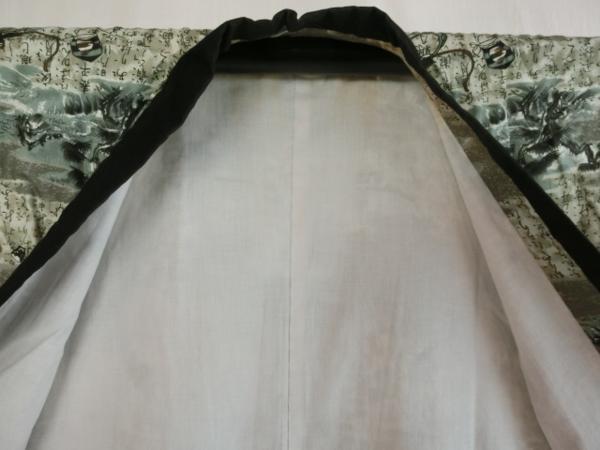 送料無料 男物モス長襦袢 裏生地付き普段着用 ウール着物用 紬着物用 なつめ・翁の面・扇面等の小紋柄 仕立て上がり長地袢 誂え中古品 7350_画像8