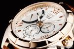 1円 シルバー&ゴールド 上級 レトログラード 本革ベルト 100m防水 ローマ数字インデックス 世界限定200本 マルチ 腕時計