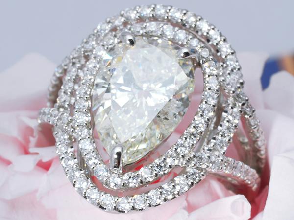 【1円スタート】 定価2780万 最高級デザイン 天然ダイヤモンドリング 3.126ct I/SI2 Pt90