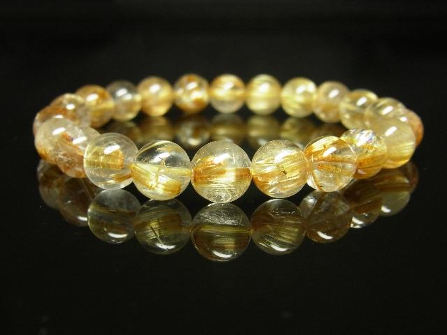 ゴールドタイチンルチルブレスレット 8mm天然石数珠パワーストーン 金針水晶 金運上昇_画像6