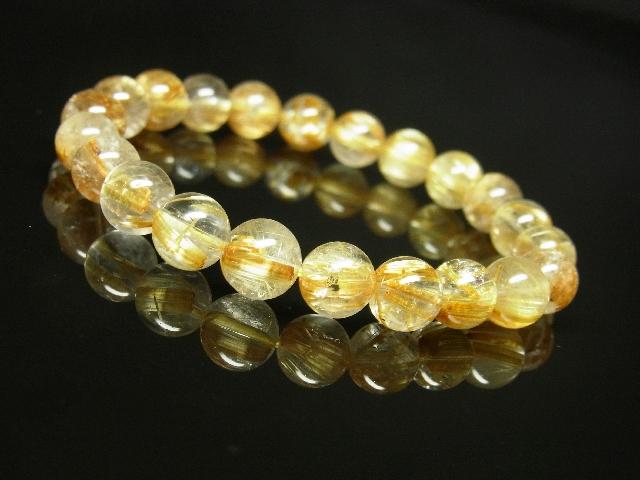 ゴールドタイチンルチルブレスレット 8mm天然石数珠パワーストーン 金針水晶 金運上昇_画像5