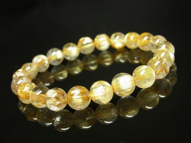 ゴールドタイチンルチルブレスレット 8mm天然石数珠パワーストーン 金針水晶 金運上昇_画像3