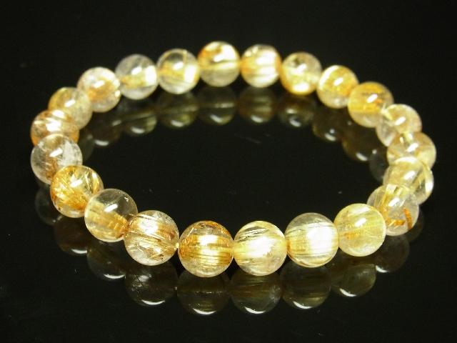 ゴールドタイチンルチルブレスレット 8mm天然石数珠パワーストーン 金針水晶 金運上昇_画像2