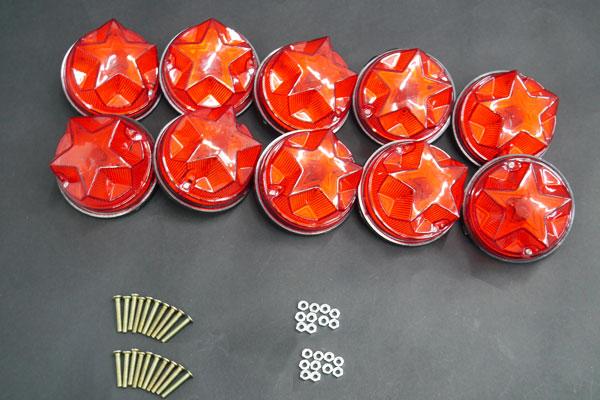 ○レア物 レトロ 星型マーカー デコトラパーツ 10個set レッド07_画像5