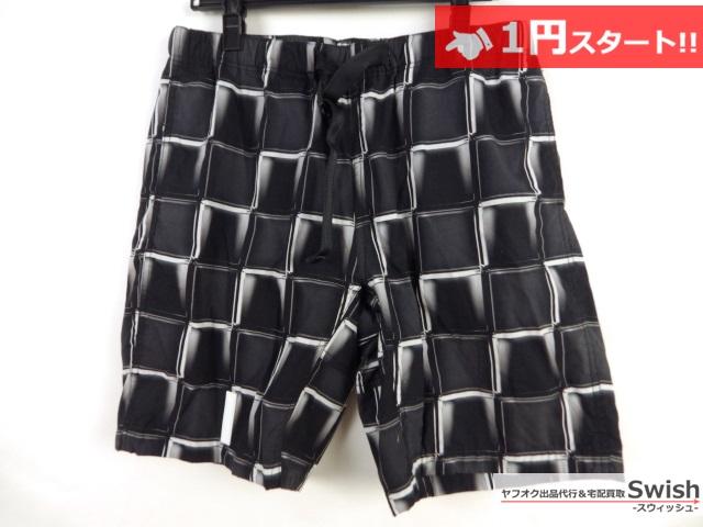 A377●FULL-BK●3D BLOCK CHECK SHORTS 格子柄 ショートパンツ L 黒●
