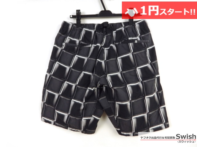 A377●FULL-BK●3D BLOCK CHECK SHORTS 格子柄 ショートパンツ L 黒●_画像4