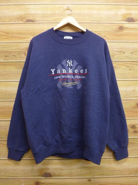 L★古着 中古 スウェット リー Lee MLB ニューヨークヤンキース 刺繍 紺 17jul12 グッズの画像