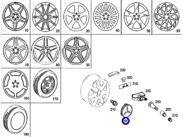 W219 W201 W202 W203 W204/NEWホイールセンターキャップ (青)_画像3
