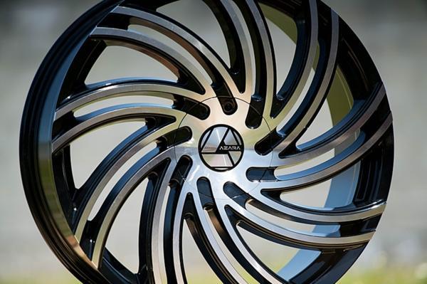 22インチ AZARA アザラ 514B ブラックマシンド ホイール 22x9.5J タイヤセット 5穴 6穴 300c チャージャー エスカレード ナビゲーター_画像1