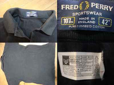 #T455 old clothes u*. vintage Fred peli polo-shirt black Britain made