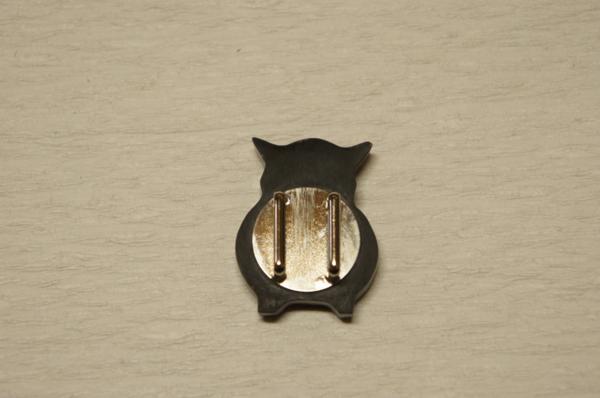 新品黒水牛角白貝『ふくろう模様』帯留め化粧箱入[E9814]_新品黒水牛角白貝『ふくろう模様』帯留め