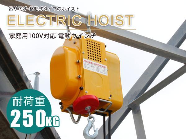 電動ウインチ 強力小型ホイスト 出張先や現場ですぐ使える移動式吊り下げタイプ 家庭用100V対応 50Hz 最大能力250kg 【60日安心保証付】_電動ウインチ 強力小型ホイスト 100V 50Hz