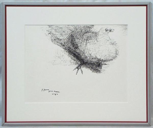 柳原義達 「鳩」 額装6号 彫刻の大家の肉筆画、鳩の柳原の本領です