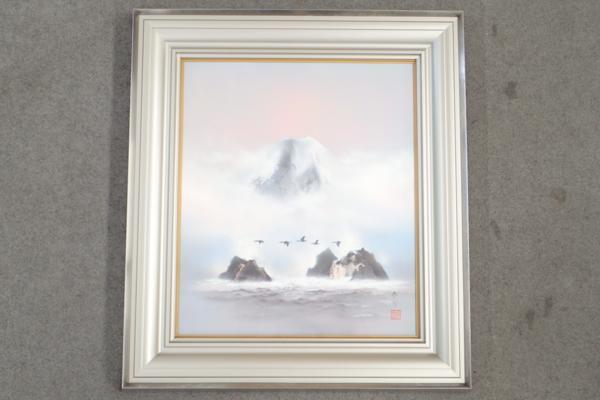 日本画家 浜田泰介 春の朝 油彩画 F10号 共シール 額縁入り 風景画 管TYK07067JG