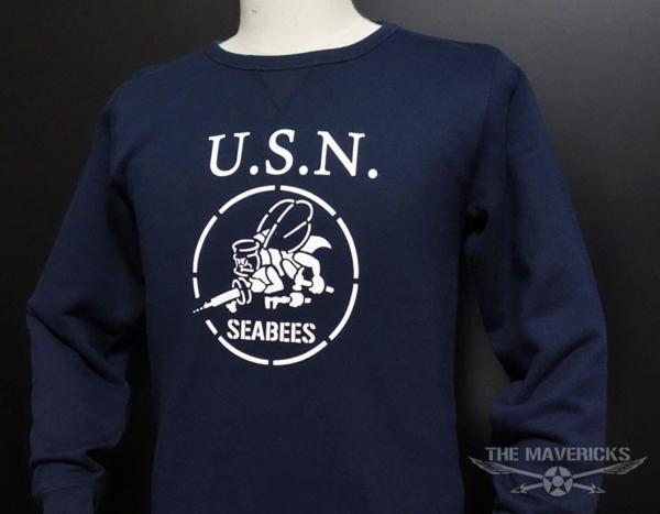 ミリタリー スウェット トレーナー S メンズ 長袖 8.4oz 裏パイル NAVY 米海軍 SeaBees ネイビー 紺 新品_画像3