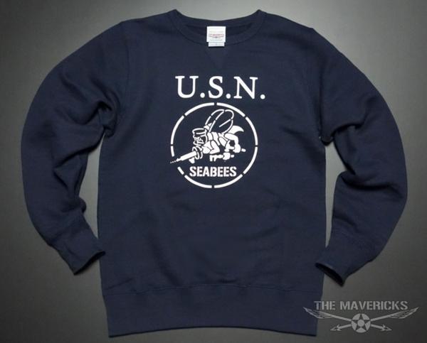 ミリタリー スウェット トレーナー S メンズ 長袖 8.4oz 裏パイル NAVY 米海軍 SeaBees ネイビー 紺 新品_画像2